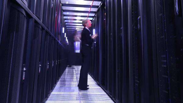 People working in computer server room data center Royalty-free stock video