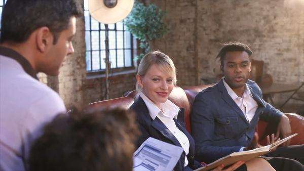 Group of young professional business people in relaxed discussion Royalty-free stock video