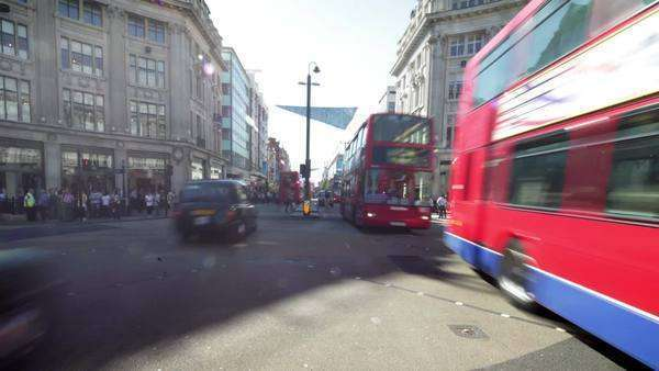 Pedestrian and bus vehicle traffic daytime timelapse Royalty-free stock video
