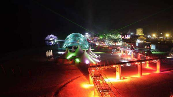 panorama of the kazantip music festival at night, Ukraine Royalty-free stock video
