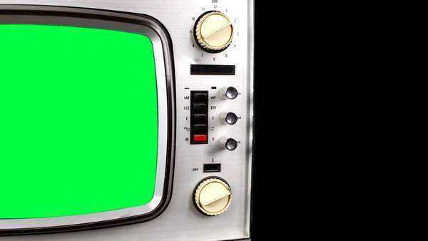 Stop motion panning across a fantastic retro silver television with green screen in the TV for your OWN animations and videos Royalty-free stock video