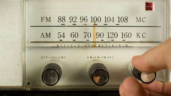 close up of a vintage radio dial with the stations and frequencies being tuned Royalty-free stock video