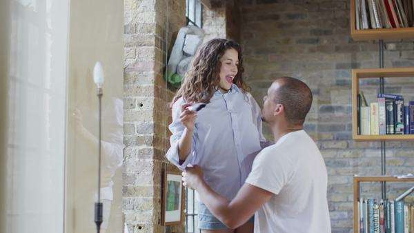 Happy couple in love working together to renovate their home. Royalty-free stock video