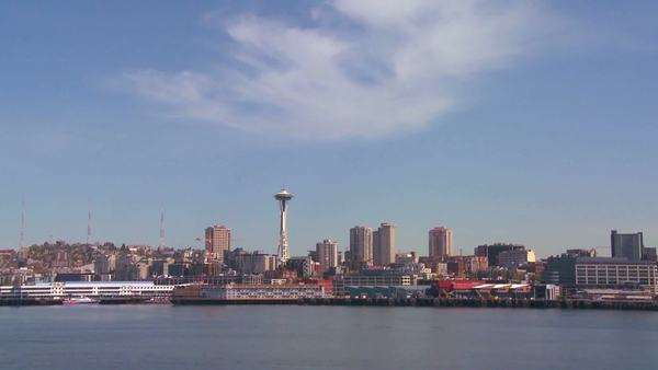 Shots from the ferry boat crossing the harbor near Seattle Washington. Royalty-free stock video