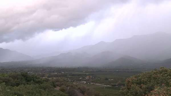 Timelapse of a snowstorm blowing over the Ojai Valley, California. Royalty-free stock video