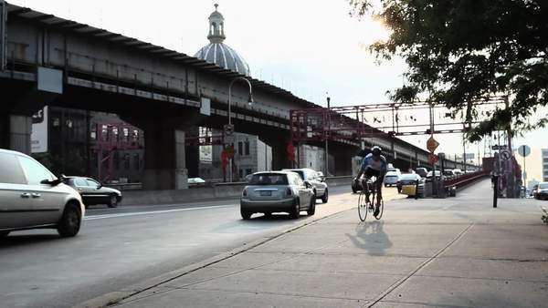 Cyclist in Brooklyn Royalty-free stock video