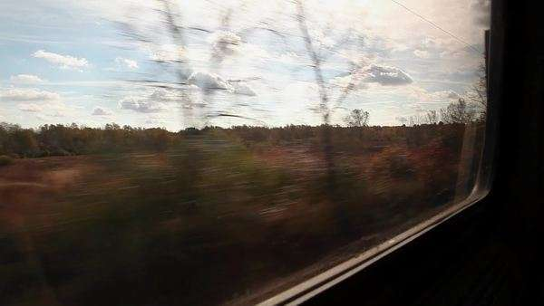 View from train as it passes along tracks Royalty-free stock video