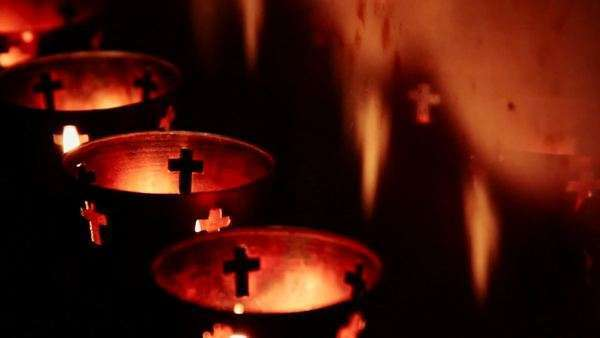 Votive candles at an altar Royalty-free stock video