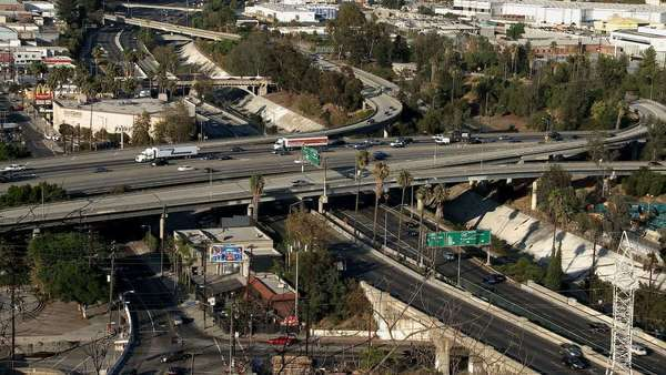 Busy Los Angeles Free Interchange Royalty-free stock video