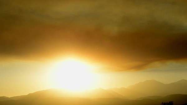 Smoky air creates a beautiful sunset Royalty-free stock video