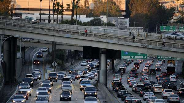 Traffic congestion in downtown Los Angeles Royalty-free stock video