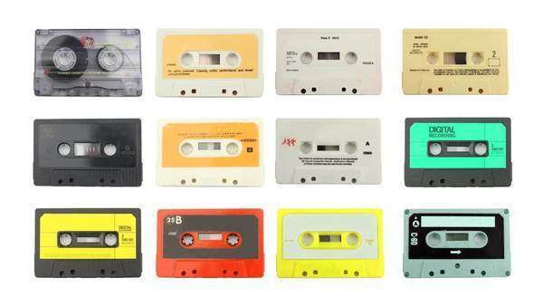 Montage of audio cassettes Royalty-free stock video