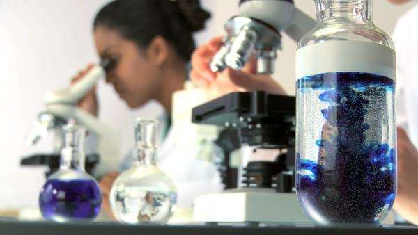 Female doctors in laboratory looking through a microscope Royalty-free stock video