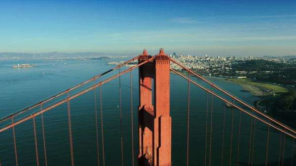 Aerial view over the Golden Gate bridge with the city of San Francisco,  California, North America, USA Royalty-free stock video
