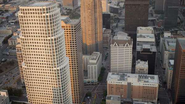 Los Angeles - December 14:Aerial view of downtown traffic and city skyscrapers Los Angeles  December 14, 2011 Royalty-free stock video
