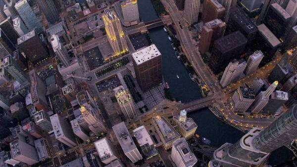 Chicago - August 18: Aerial vertical view Chicago River skyscrapers  Chicago August 18, 2012, shot on RED EPIC Royalty-free stock video