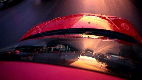 Reflection in car windshield of traffic going down road Royalty-free stock video