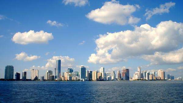 Timelapse of the skyline of Miami looking from the ocean to the city. Royalty-free stock video