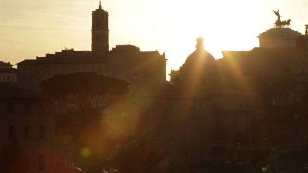 The sun sets over the buildings that surround the Roman Forum Royalty-free stock video