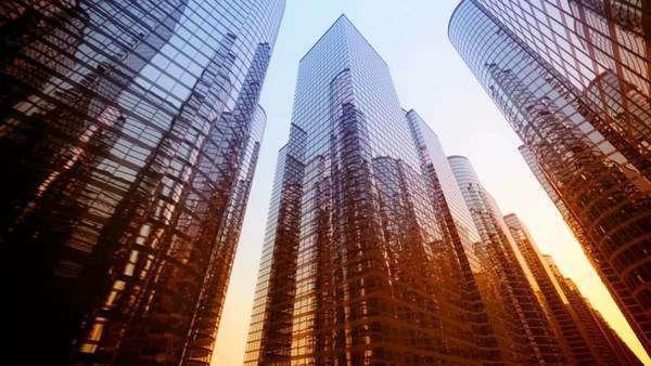 Big city glass buildings during sunset Royalty-free stock video