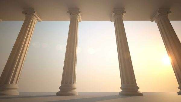CG loopable animation of classical white Greek style columns Royalty-free stock video
