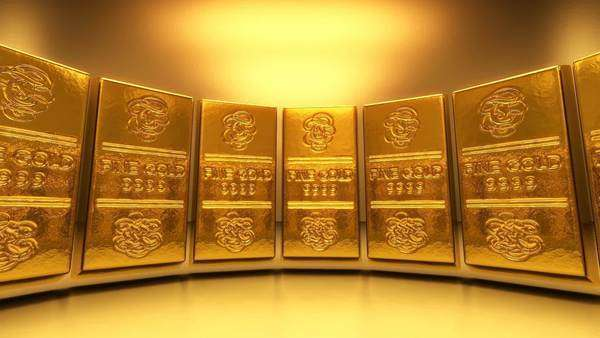 3D animation of gold bars Royalty-free stock video