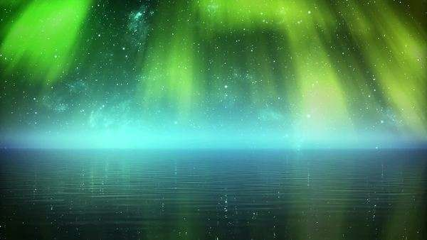 Time-lapse 3D animation of glowing aurora over the sea Royalty-free stock video