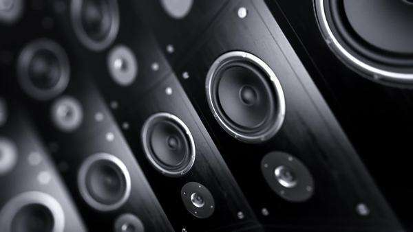Loopable animation of rotating wall of speakers Royalty-free stock video