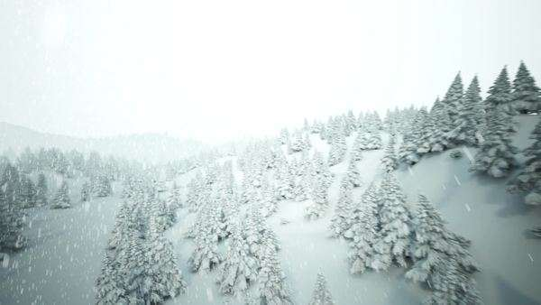 High quality full CG animation showing hills with many pine trees covered by snow Royalty-free stock video