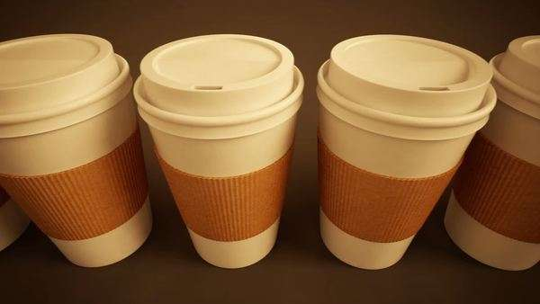 Loopable animation of take-away coffee cups Royalty-free stock video