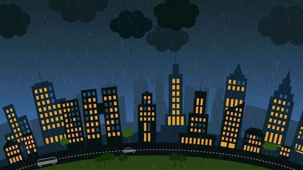 Loopable animation of a city with skyscrapers on stormy night with a lightning strike in the background Royalty-free stock video