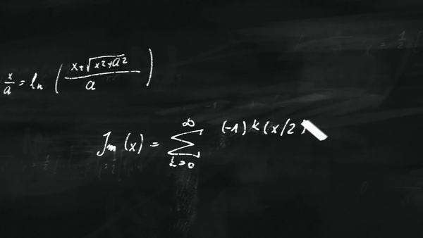 Animation presents mathematical formulas writing on a black board by moving chalk. Royalty-free stock video