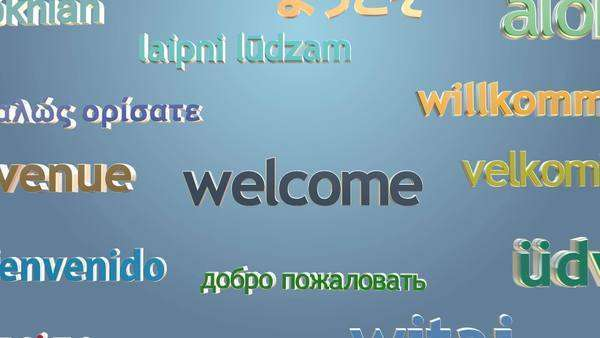 """Welcome"" and many languages greetings appear on bright background Royalty-free stock video"