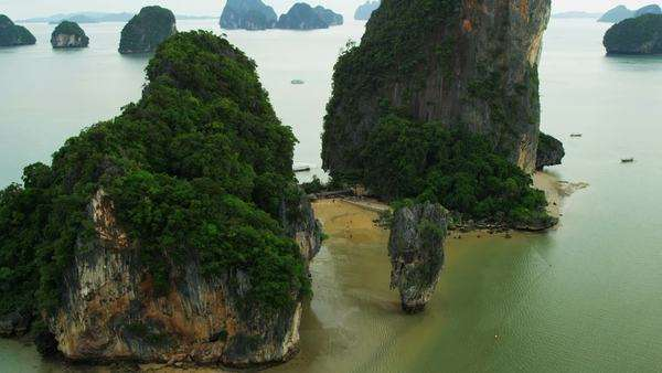 Aerial view of James Bond Island, Khao Phing Kan rich in vegetation Phi Phi Island, Krabi, Thailand, Phang Nga Bay, Andaman Sea, Asia, RED EPIC Royalty-free stock video