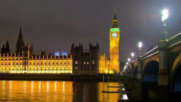 Timelapse shot in the evening of Westminster, Big Ben and the bridge in London, England. Filmed in October 2011. Panning shot. Royalty-free stock video