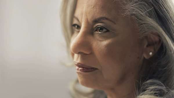Close-up of older black woman with gray hair Royalty-free stock video