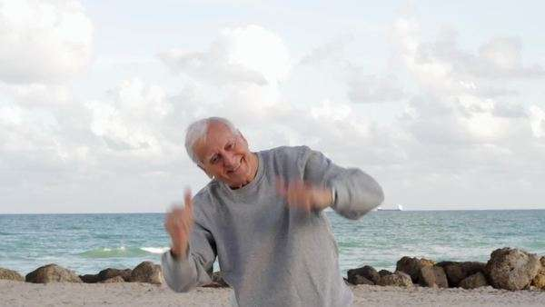 Close-up of senior Caucasian man enjoying the beach Royalty-free stock video