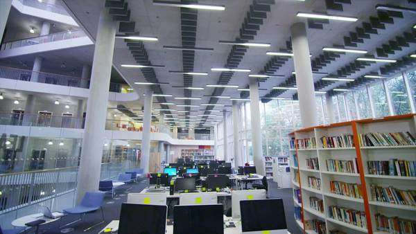 Interior view of a large modern university building. . - Stock Video ...