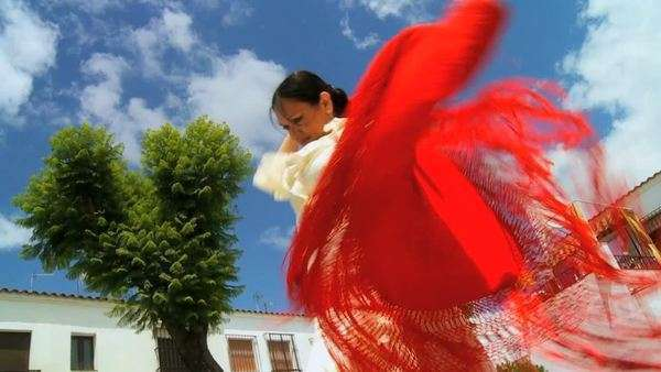 Lady in traditional dress dancing Spanish flamenco in town square Seville, Spain. Royalty-free stock video