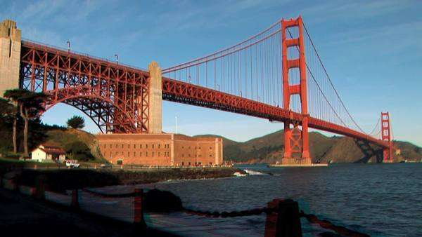 Pathways beneath Golden Gate Bridge,filmed in stereoscopic 3D Clip contains 3D HD Anaglyph version, left HD camera stream and right HD camera stream. Royalty-free stock video