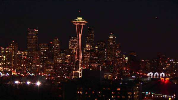 Seattle's landmark Space Needle is truly a standout at night. Royalty-free stock video