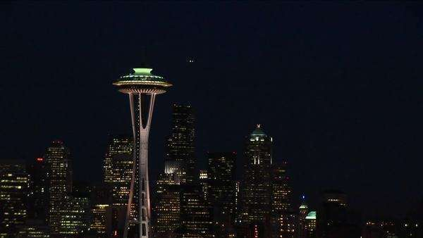 A spectacular aerial view of Seattle's Space Needle at night. Royalty-free stock video