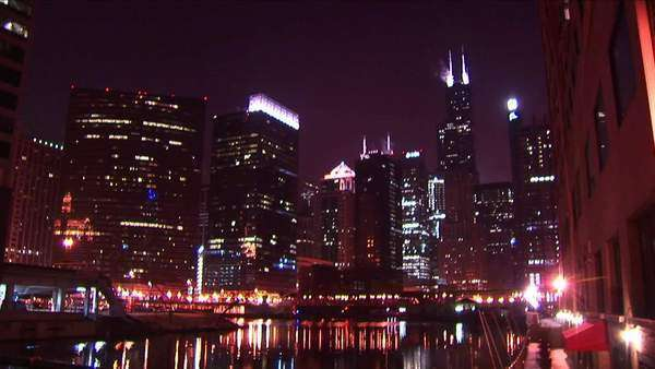 Chicago's skyline glows at night. Royalty-free stock video