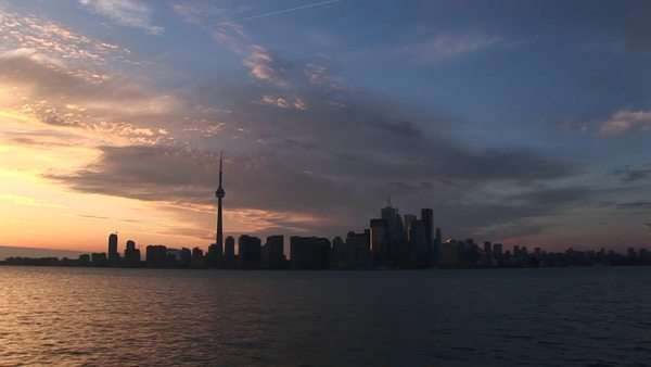 The CN Tower stands among the other skyscrapers in the Toronto skyline. Royalty-free stock video