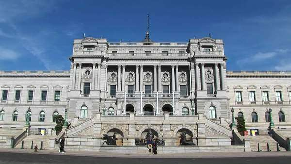 A view of the front of the Library of Congress in Washington, D.C. Royalty-free stock video