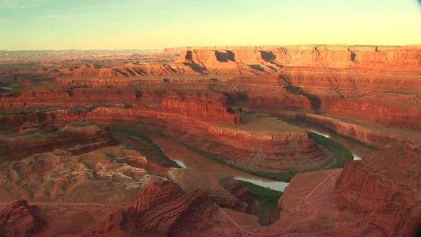 Long shot of the Colorado River snaking through Canyonlands National Park. Royalty-free stock video
