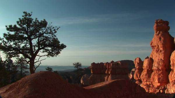 Pan-right shot of sandstone formations in Bryce Canyon National Park. Royalty-free stock video