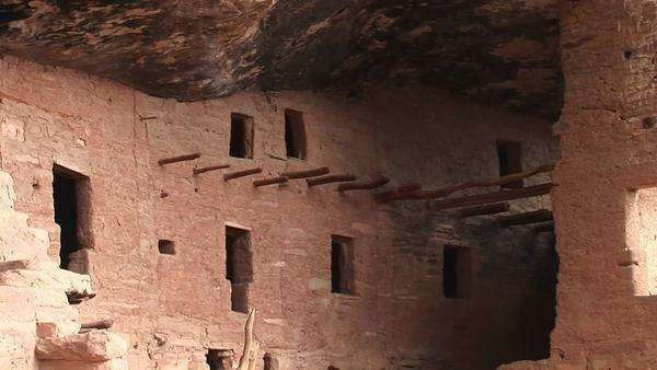 Medium-shot of ruins of Native American cliff dwellings in Mesa Verde National Park. Royalty-free stock video