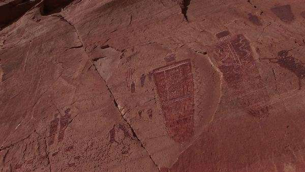 Close-up of American Indian petroglyph's on a canyon wall. Royalty-free stock video