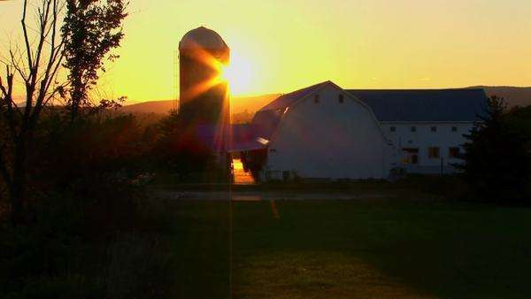 The golden sun glows behind a farm. Royalty-free stock video